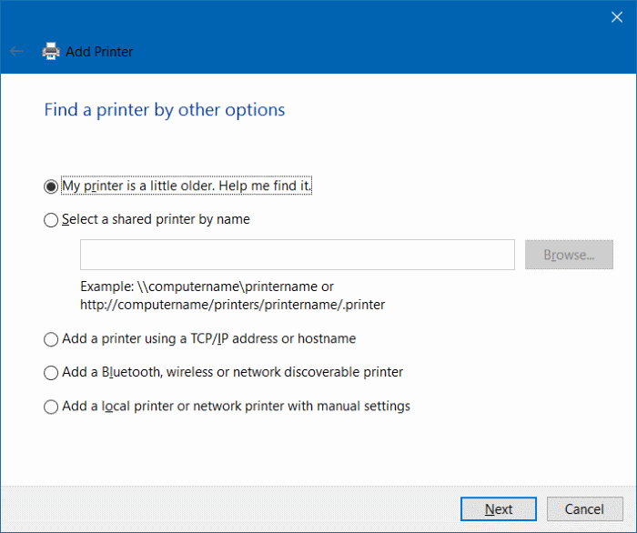 Add Printer Windows 10