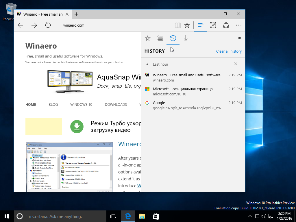 Browser Edge Windows 10 build 11102
