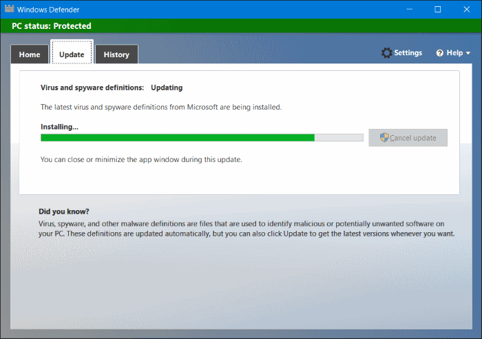 Install update offline Windows Defender