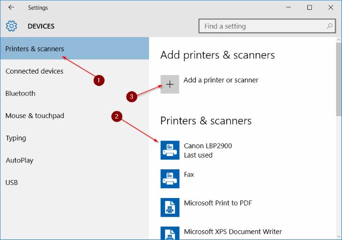 Printers & scanners Windos 10