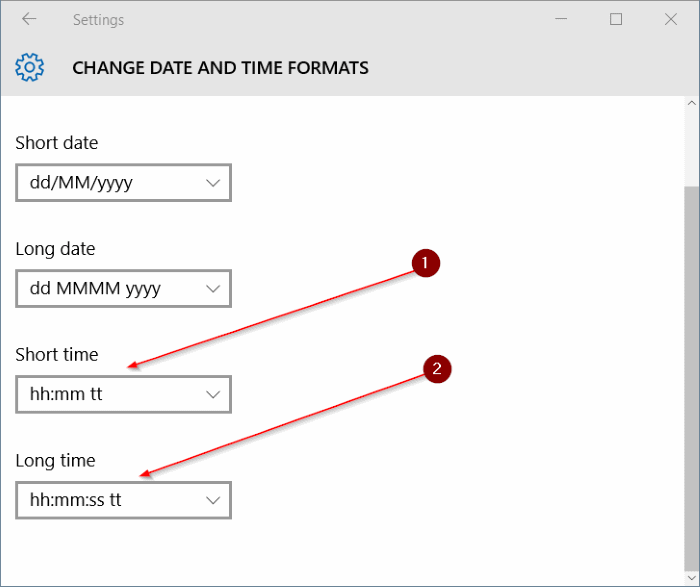 Change date and time formats