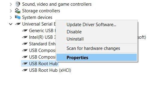 Klik Kanan USB Root Hub