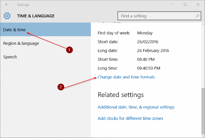 Time & Language Settings
