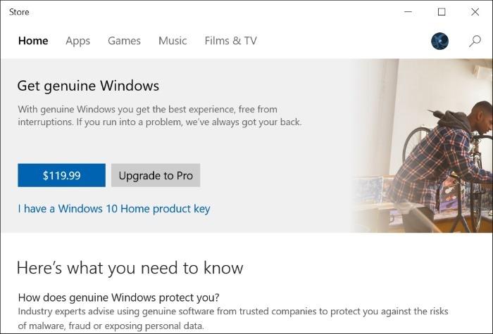 Beli lisensi Windows 10 melalui Store