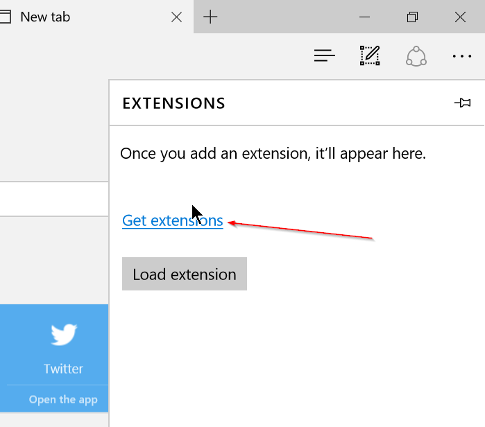 Microsoft Edge - Extensions - Get Extension