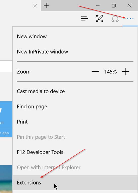 Microsoft Edge - More - Extensions