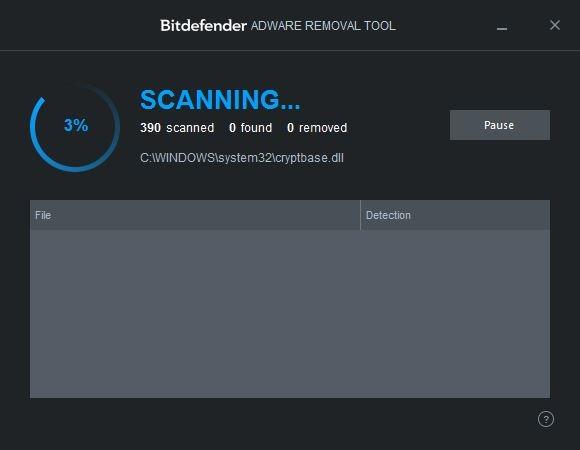 Pemindaian Bitdefender Adware Removal Tool