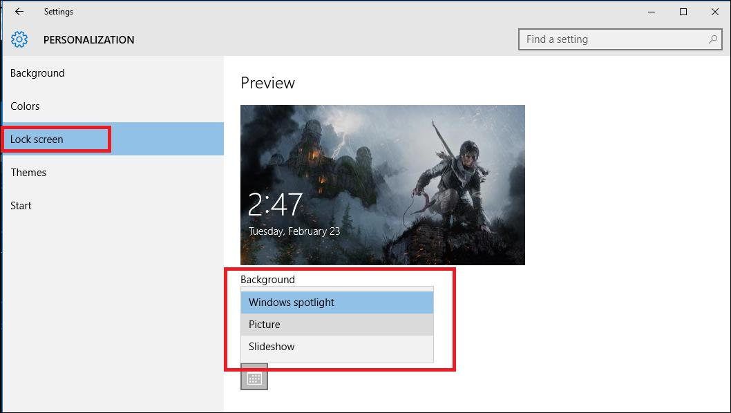 Settings - Personalization - Lock screen