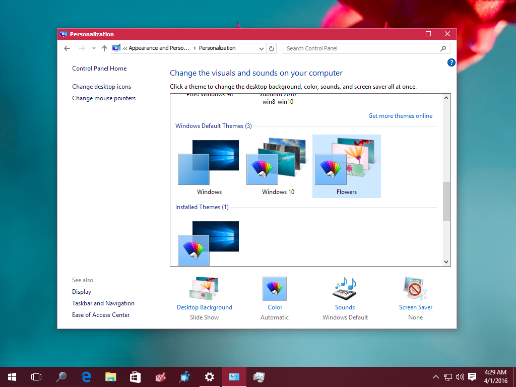 Personalization Windows 10