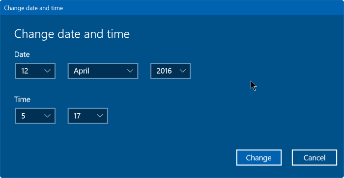 Settings - Change date and time