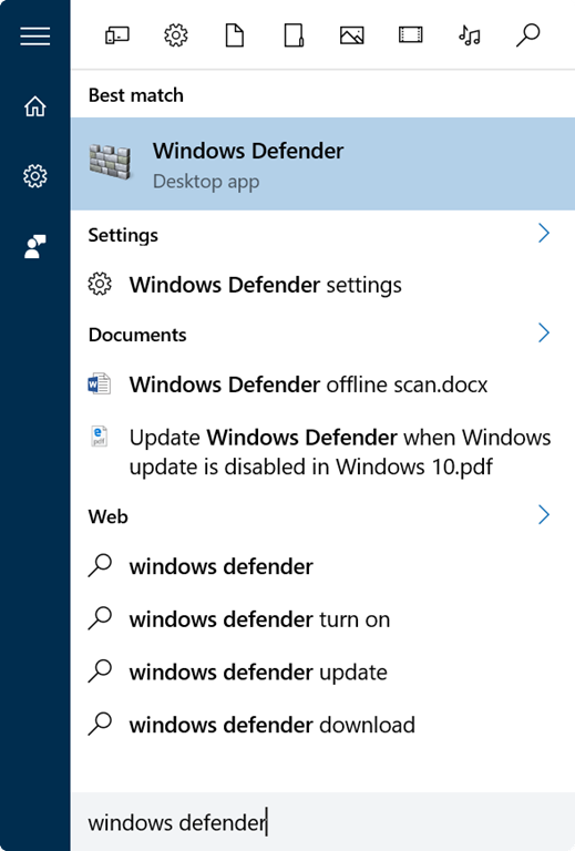 Buka Windows Defender di Windows 10