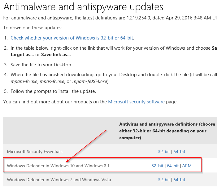 Download Update Offline Windows Defender