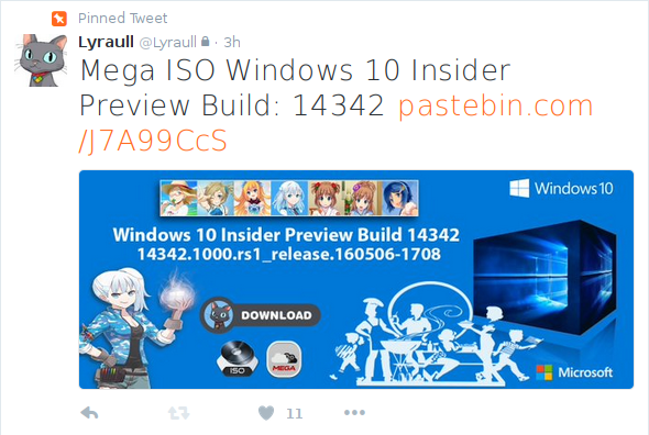 ISO Windows 10 build 14342