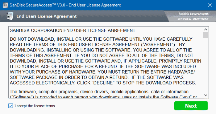 License agreement SanDisk SecureAccess