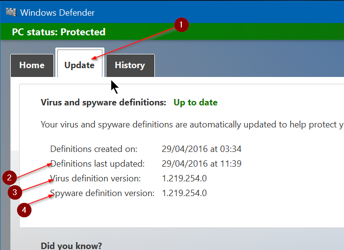 Update windows defender offline manual di windows 10 for Window defender update