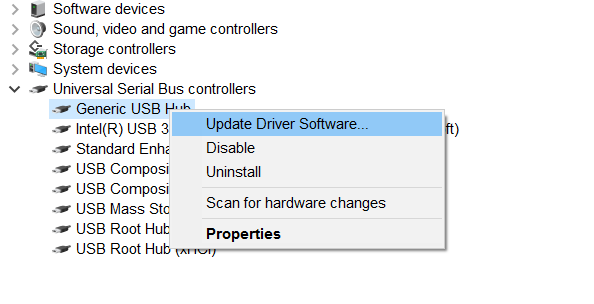 Update Driver Software Device Manager