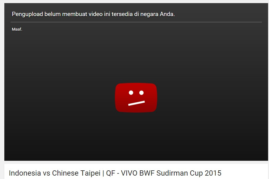 Video Youtube diblokir