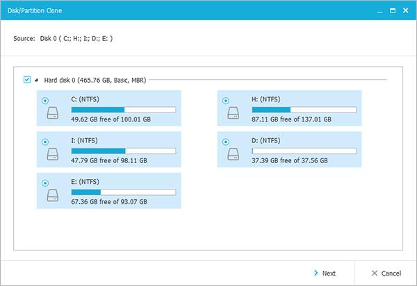 Pilih hard disk sumber (EaseUs Todo Backup)