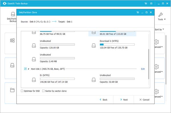 Pilih hard disk tujuan (EaseUs Todo Backup)