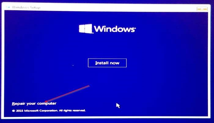 Tampilan Install Windows 10 (Install Now)