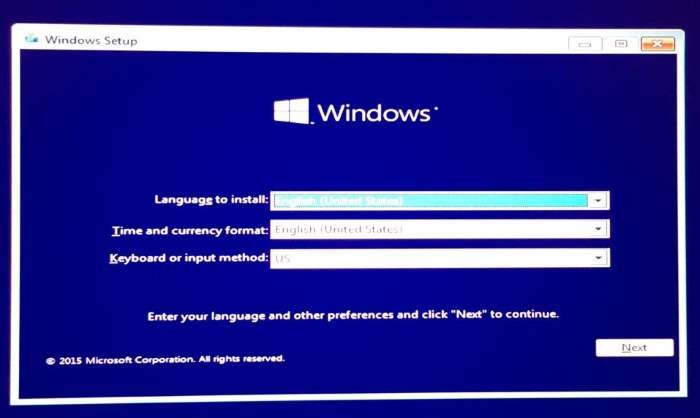 Tampilan Install Windows 10
