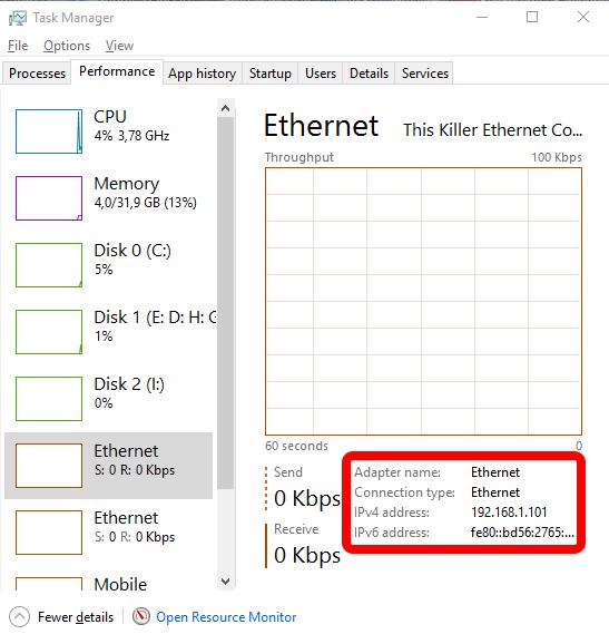 Cek alamat IP menggunakan Task Manager
