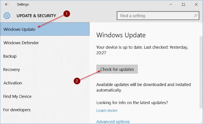 Settings - Update & security - Windows Update - Check for updates