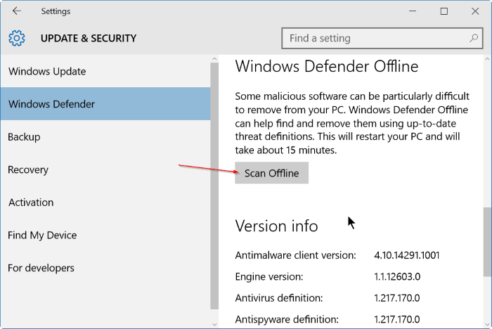 Settings - Windows Defender - Scan Offline