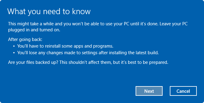 Uninstall Windows 10 Anniversary Update