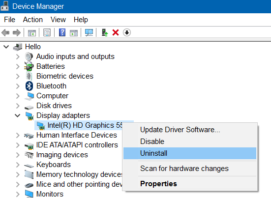 Device Manager - Uninstall