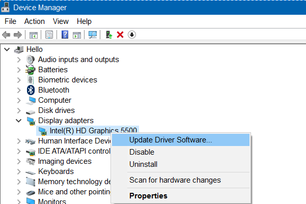 Device Manager - Update Driver Software