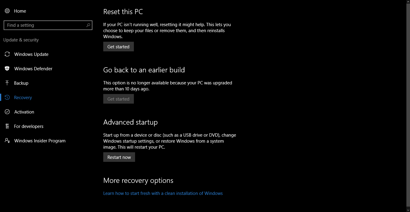 Reset PC Windows 10