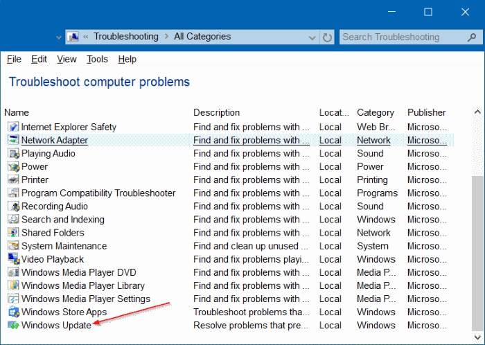 Troubleshooter - Windows Update