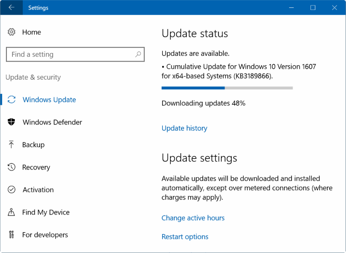 Windows Update - Windows 10