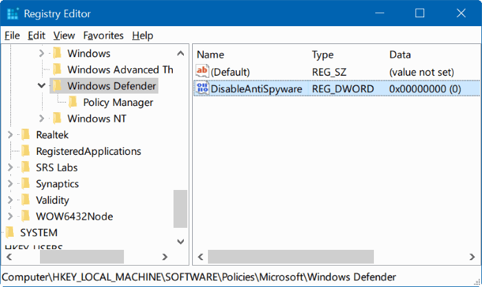 Disable Windows Defender melalui Registry Editor