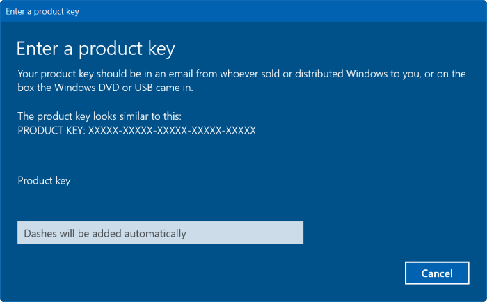 Enter a product key Windows 10