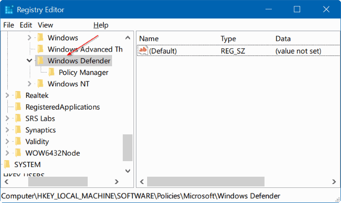 Registry Windows Defender
