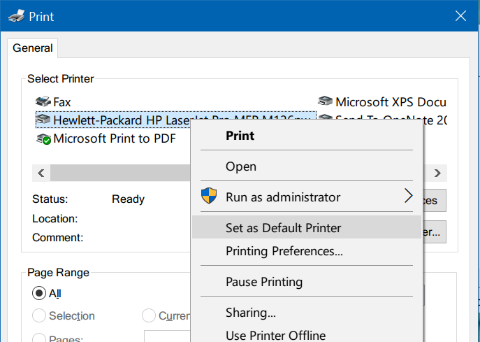 Set as default printer - Print Dialog