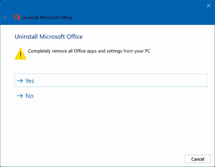 Microsoft Office dari PC Windows selalu dipermudah Uninstall Office 2013 / 2016 / 365 Secara Keseluruhan