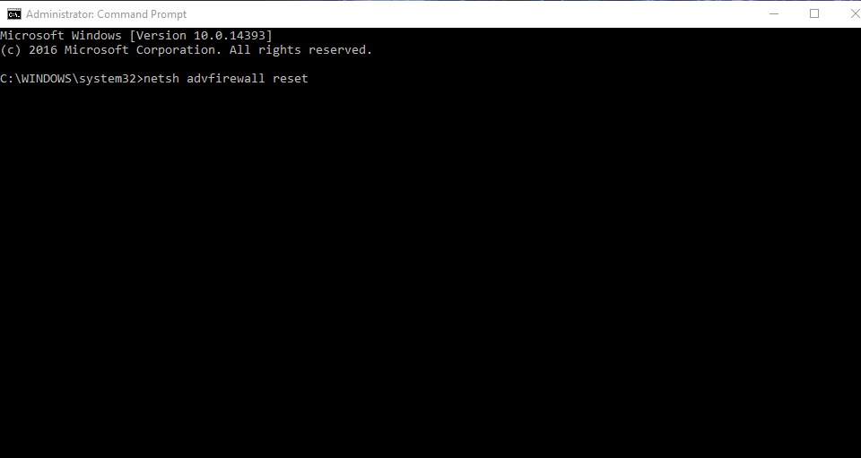 NetSH Reset Windows Firewall