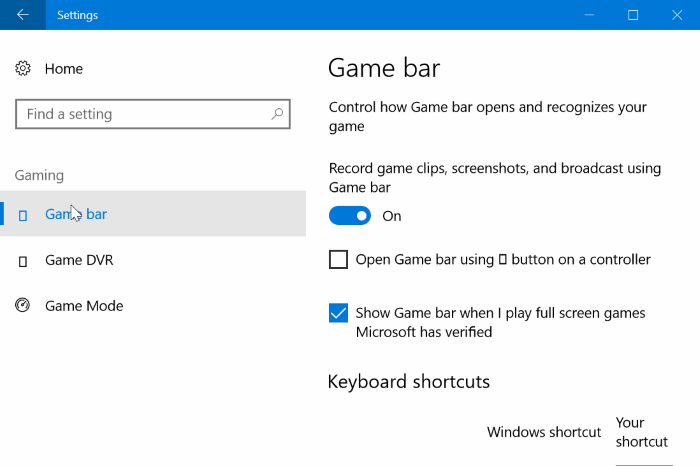 Game Bar Windows 10