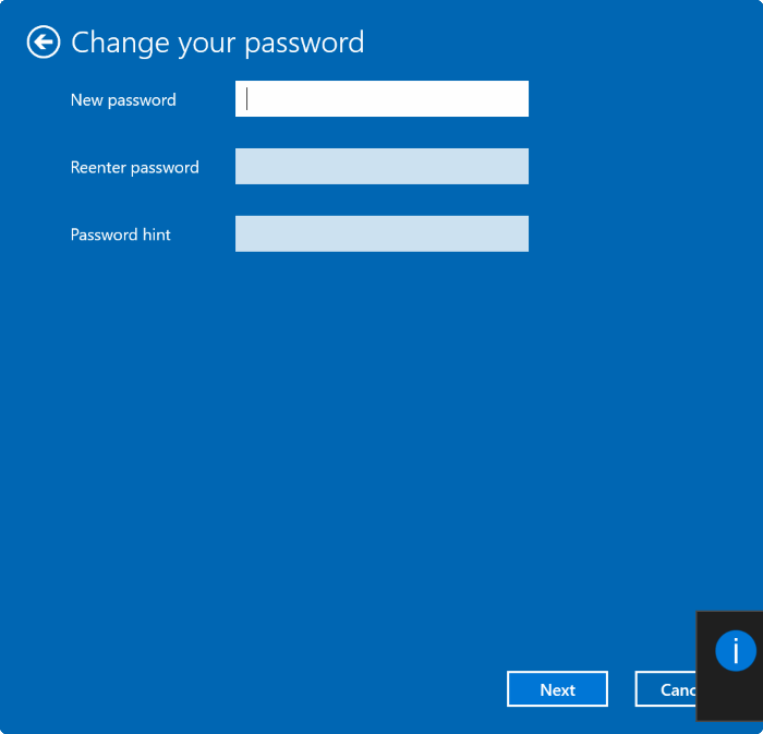 New Password Windows 10