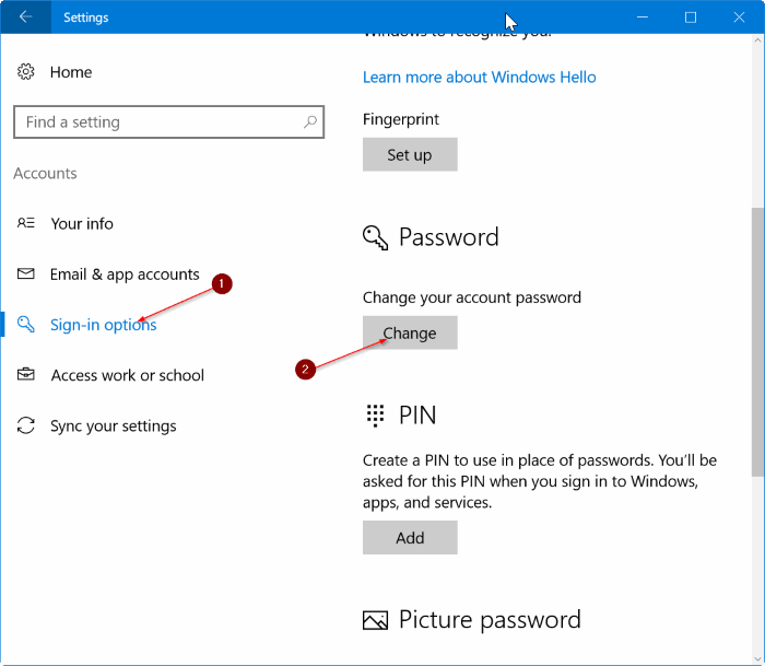Settings - Accounts - Sign-in options