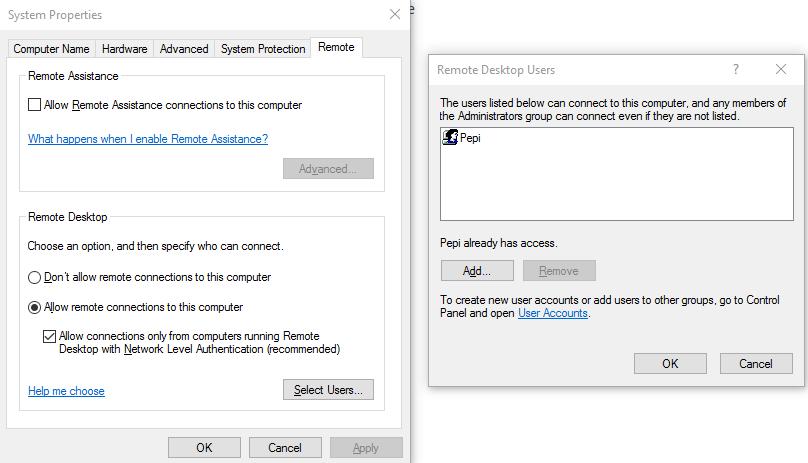 Add user Remote Desktop