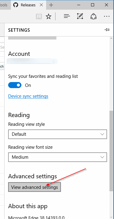 Advanced Settings - Microsoft Edge