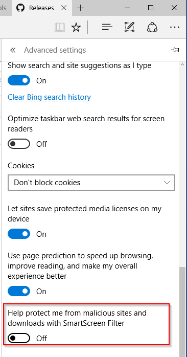 Mematikan SmartScreen Edge Windows 10