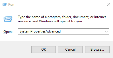 Run SystemPropertiesAdvanced