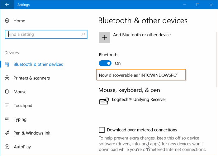 Settings - Bluetooth & other devices