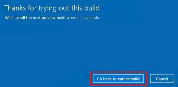 Uninstall Windows 10 Creators Update