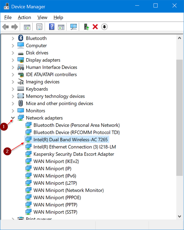 Device Manager - Network Adapters